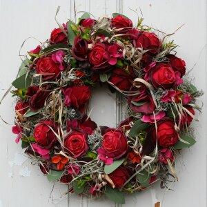 Türkranz mit roten Rosen aus Seide 49 cm