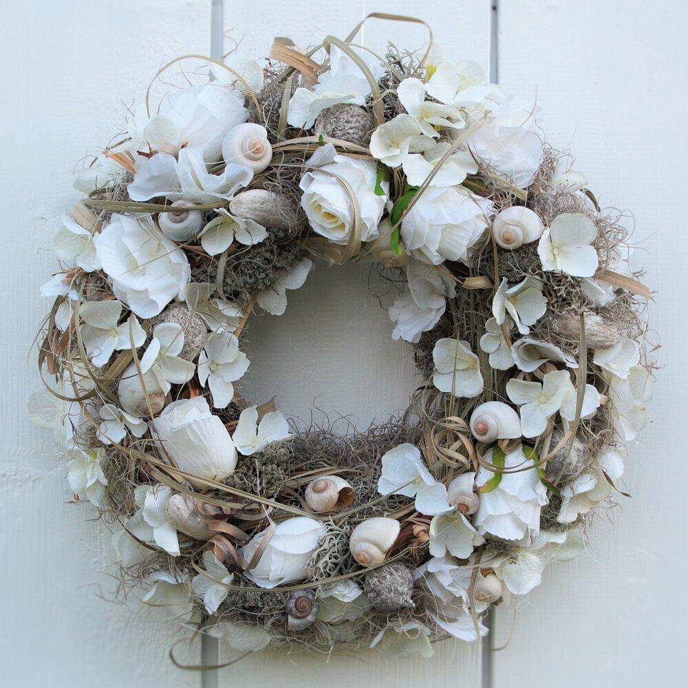 Türkranz weiße Rosen Hortensien und Muscheln 42 cm