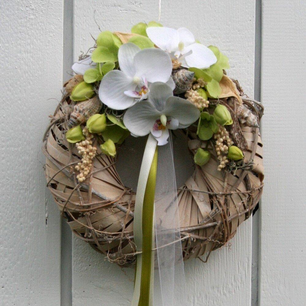 Türkranz weiße Orchideen Shabby Chic 28 cm