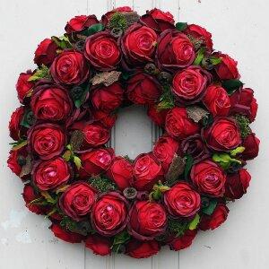 Türkranz XL mit roten Rosen aus Seide 46 cm