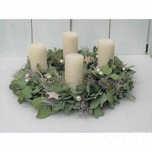 adventskranz getrocknet mit eucalyptus silber kugeln und...