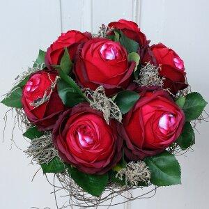 Rosenstrauß Biedermeier Seidenblumen rot