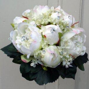 Brautstrauß Pfingstrosen Hortensien weiß