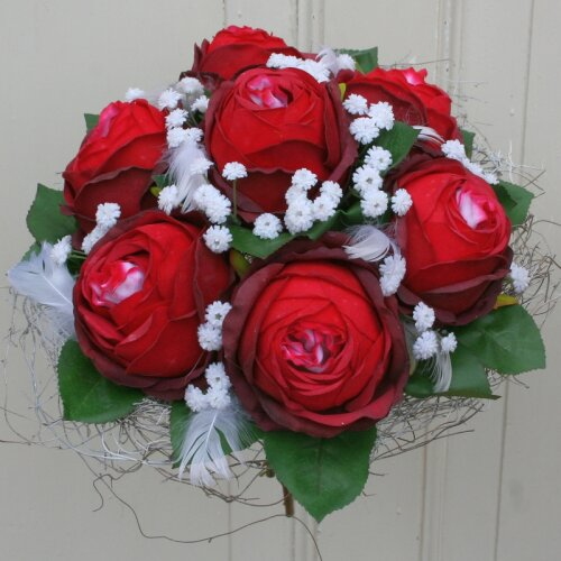 Rosenstrauß rote Rosen Seidenblumen