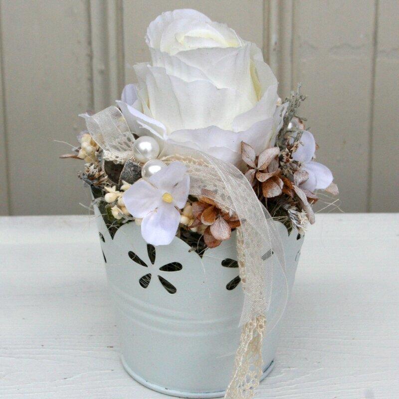 Tischdeko weiße Rose und Zinktopf 14 cm