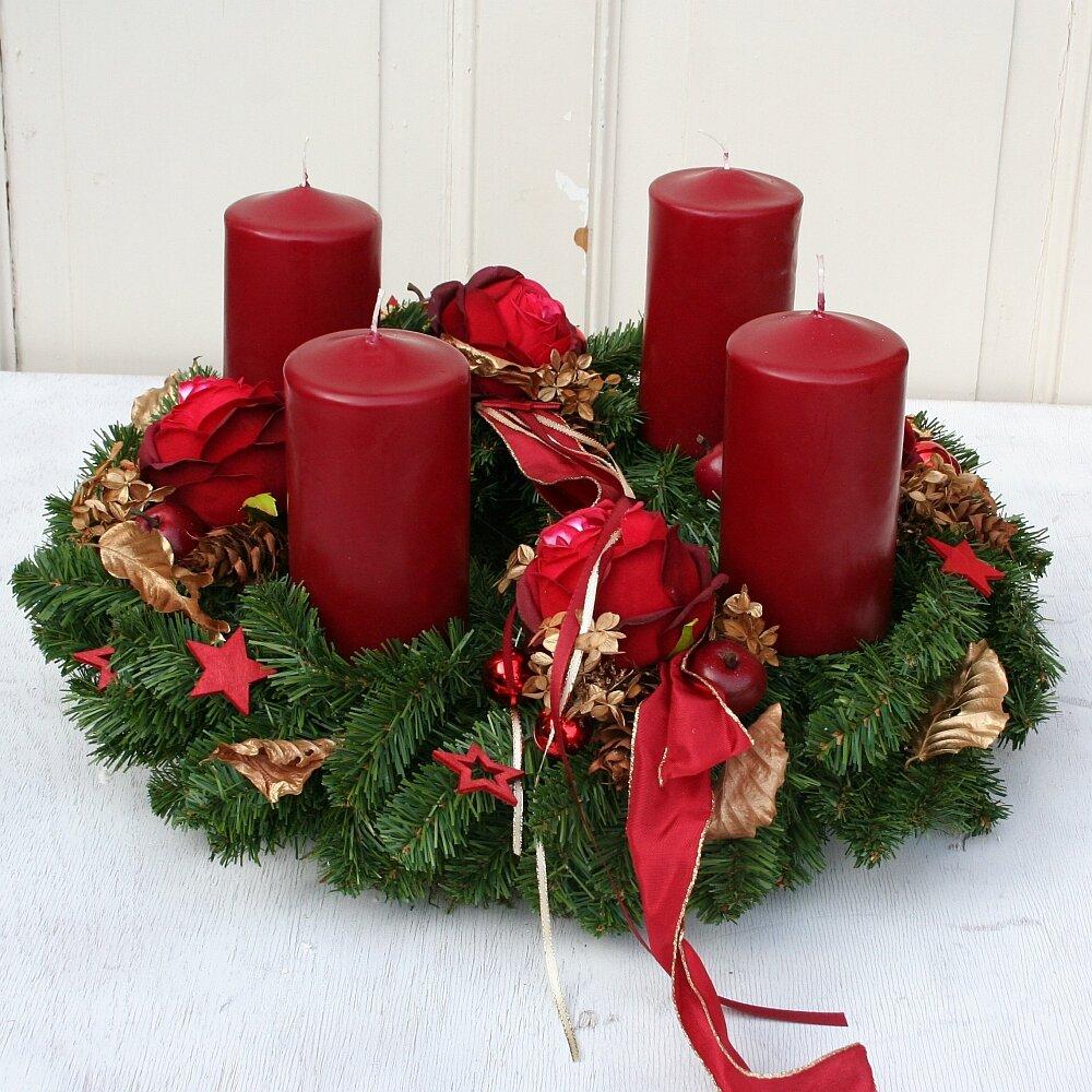 adventskranz xl k nstlich mit 4 roten kerzen 50 cm