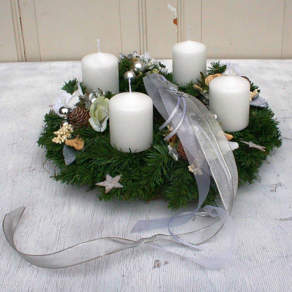 Adventskranz künstlich mit 4 Kerzen weiß 36 cm
