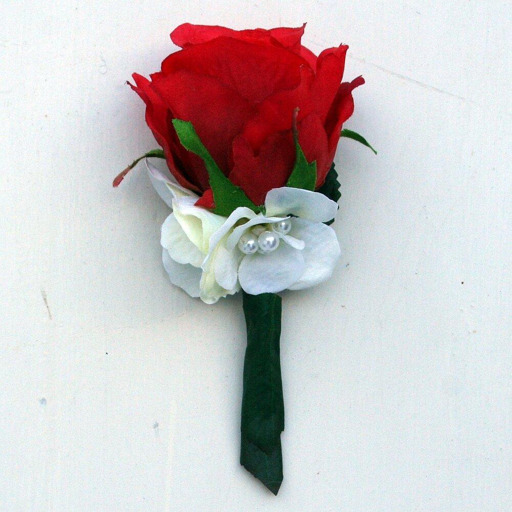 Hochzeitsanstecker Anstecker Rose rot