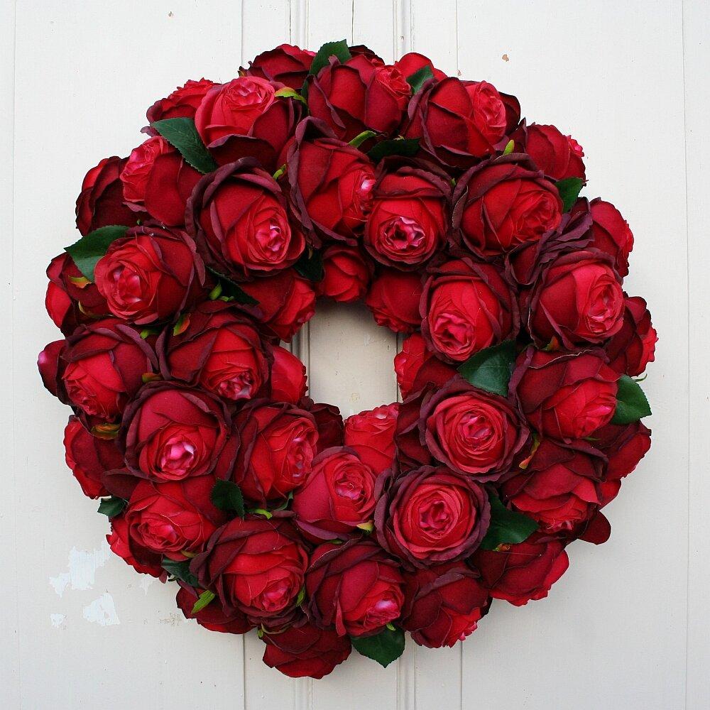 Türkranz XL Seidenblumen mit roten Rosen