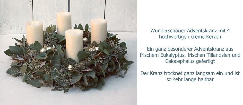 Adventskranz frisch mit Eucalyptus und 4 creme Kerzen 45 cm